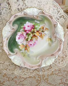 Stunning Antique Hand Painted German Porcelain Bowl