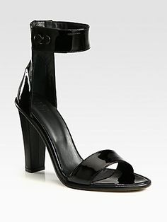 Tibi Barbara Patent & Leather Heel Ankle Strap Sandals