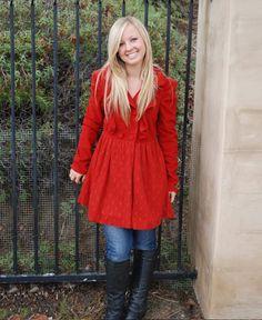 Red Coat with Lace & Ruffle Girly Pea Coat www.daisyshoppe.com