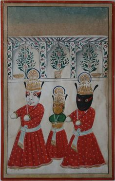 The Jagannath trio - Krishna, Balabhadra (Balabhadra) and sister Subadhra. Awadh, circa 1830.   Apart from the famous Jagannath temple at Puri there were (and are) long-established temples around the former state of Awadh at Behta Buzurg and the village of Ankui near Bithoor.  Wasli is specially made for miniature paintings by bonding sheets of hand-made paper with wheat-glue then burnishing it smooth.
