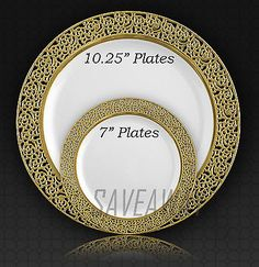 Elegant Wedding Party Disposable Plastic Plates Inspiration White - Gold & Masterpiece Premium Plastic Heavyweight Plates Combo Pack (48 ct ...