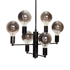 Lamp w/bulb, LED, smoke/grey, metal, w/wire Size: 57xh59cm, E27/25W