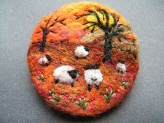 Hand Made Needle Felted Brooch - ' The Sunset ' by Tracey Dunn | eBay