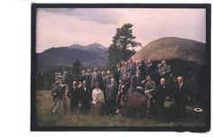 This undated photo shows the entourage of Charles Evans Hughes and his entourage…