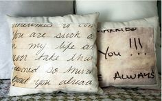 scan actual love letters to computer, print on fabric transfer paper and then make into a pillow