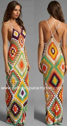 Saída de praia Crochet womans striped sweater - Woman Knitwear and Sweaters Crochets En Crochet, Pull Crochet, Mode Crochet, Crochet Lace, Chevron Crochet, Crochet Beach Dress, Knit Dress, Women's Dresses, Summer Dresses