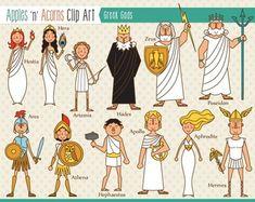 Greek Gods Clip Art - color and outlines Greek Mythology Costumes, Greek Mythology Tattoos, Greek And Roman Mythology, Greek Gods And Goddesses, Greek Godesses, Roman Gods, Roman Art, Greek Art, Art Lessons Elementary