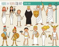 Greek Gods Clip Art - color and outlines $