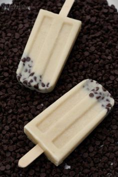 Cookie dough popsicles.. made with almond milk, these are low fat and low cal!.