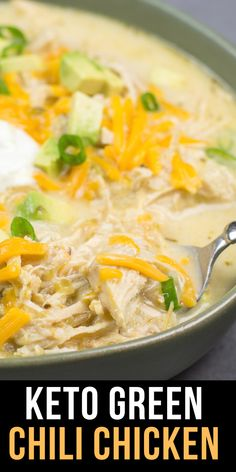 This Keto White Chicken Chili is loaded with shredded chicken, chilis, peppers and cauliflower rice! At about net carbs per heaping serving this is the ultimate creamy keto comfort food! Best Chili Recipe, Chili Recipes, Soup Recipes, Cooking Recipes, Keto Recipes, Keto Foods, Dinner Recipes, Green Chili Chicken Crockpot, Creamy White Chicken Chili