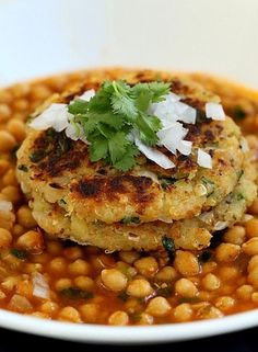 Potato Quinoa Patties with Chickpea Curry | Free of dairy, egg, corn, soy, nut. Can be made gluten-free with gf bread or Oats.