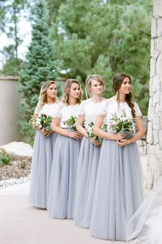 Chic Bridesmaid Separates in White Lace and Dusty Blue Tulle