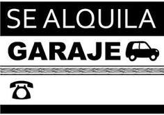 cartel listo para imprimir se alquila garaje alquiler