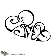Simone's tattoo #3  S+R and M+T heartigrams