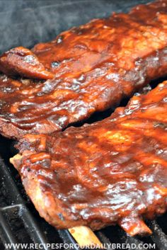 """""""These Fall Off the Bone Ribs are perfect! This combination of cooking the ribs low and slow in the oven and then on the grill will make perfect Lip Smacking, Finger Licking, Fall off the Bone Ribs. Ribs In Oven, Ribs On Grill, Pork Ribs, Pork Spare Ribs Grilled, Pork Chops, Grilling Ribs, Outdoor Grilling, Pork Meat, Bbq Meat"""