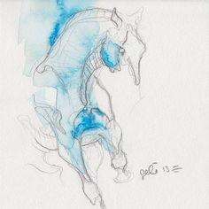 Benedicte Gelé - Small Horse Drawing Equine nude