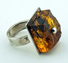 BALTIC AMBER RING Unique Sterling Silver Ring Organic Raw