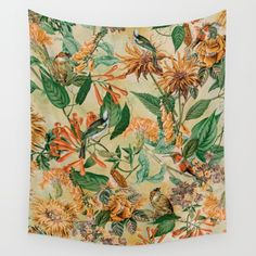 Botanical Garden Wall Tapestry #botanical #floral #animals #birds #vintage #homedecor #ss17