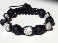 Shamballa Bracelet, Black Polymer Clay Beads, 10mm White Crystal Pave Beads, Macrame on Etsy, $30.00