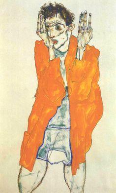 Egon Schiele ~ Self-Portrait with Red Shirt, 1914