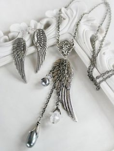 GUARDIAN ANGEL vintage inspired angel wing necklace and earring set. The necklace Mike will give me instead of a ring.