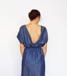 The versatile Bridgetown Backless Dress or Tunic is great for knit or woven fabrics with some drape to them. It features a stunning draped, open back.