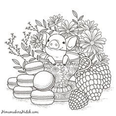 Pig in a Tea Cup - Adult Coloring Page - Homemaker's Hutch