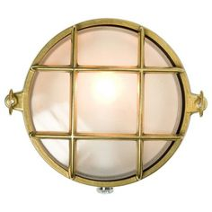 A small die-cast bulkhead light in natural brass, unlacquered and with frosted glass diffuser. Also available in weathered brass and chrome plated finishes. Front guard secured by two wing nuts, dome nuts optional by request. Outdoor Wall Sconce, Outdoor Wall Lighting, Outdoor Walls, Interior Lighting, Outdoor Furniture, Davey Lighting, Lighting Suppliers, Glass Diffuser, Brass Material