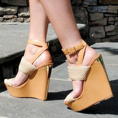 Cast Your Net Strappy Contrast Wedges Hot High Heels, Sexy Heels, Shoes Heels, Wedge Boots, Wedge Sandals, Shoe Wedges, Feet Soles, Cute Sandals, Summer Shoes