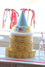Ticket rolls and Clown party hat. Table Centre piece.