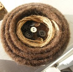 Felted Nesting Bowls - Nature's Brown - Earthy Home Decor- $24.00