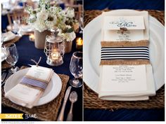 tablescape | Great for nautical Brown linen with blue table runner for pop of color would be great.