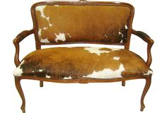 Cowhide French Settee