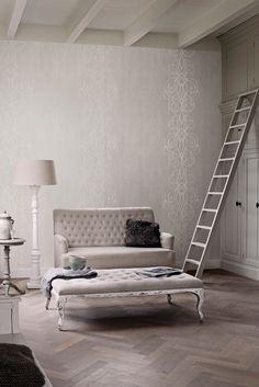 Wallpaper Camarque Grey white / Behang Camarque grijs wit - BN Wallcoverings
