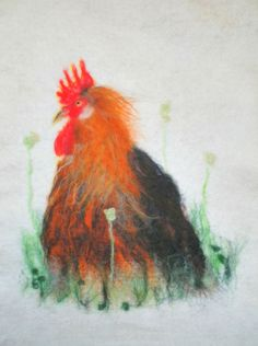 Colourful cockerel wool painting  felt picture art by WildFeltArt