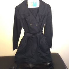 Windsor Black Dress Black double breast dress with pockets and belt. Ties on each side of the dress to adjust. Can be worn with tights or leggins. NWOT WINDSOR Dresses