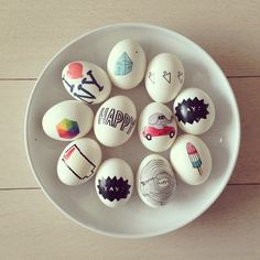 Easter eggs decorated with Tattly tattoos <3