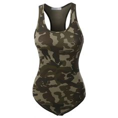 LE3NO Womens Camo Print Scoop Neck Sleeveless Bodysuit (£6.39) ❤ liked on Polyvore featuring intimates and shapewear