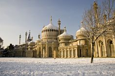 Royal Pavilion exterior in the snow, Brighton, England