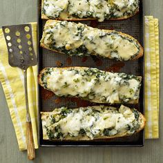 Spinach-Artichoke French Bread Pizza Recipe from Rachel Ray yum-o!!