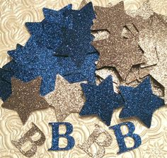 Stars And Initial In Blue And Silver Glitter Confetti Birthday NFL Dallas  Cowboys Party Gender Reveal