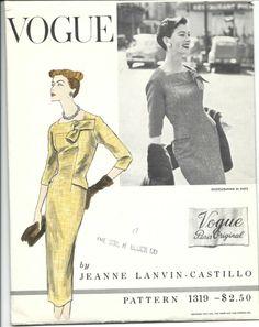 Vogue Paris Original 1319, Jeanne Lanvin-Castillo, ca 1955-56; Sz 14/Bust 32