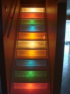 Stair Riser Stencils | illuminated stairs