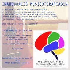 Inauguración #musicoterapia BCN sábado 14 de 17.30 a 20h calle martínez de la Rosa 15 lical 08012 BCN