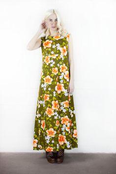 avocado green hawaiian floral maxi dress by jamessociety on Etsy, $78.00