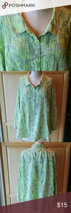 Liz Claiborne cotton twill top Pretty citrine, khaki, white and turquoise print on soft flowy twill. 5 button placket and pintucks on front. Narrow band at sleeve hem with one button closure Nice with your spring whites and khaki's... Extra button on inside seam. Liz Claiborne Tops Blouses