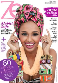 Ethiopian Model Mahlet Seifu on the cover of Zen Magazine Africa's April Issue. Photography by Samantha Clarke. Makeup by Vino Shan. Necklace by Shar Oke.