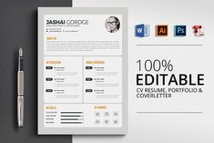 Ad: Office Word CV Resume by Business Flyers on CV/Resume Specification - CMYK Color Mode - 300 DPI Resolution -Size 3 mm bleed Features - Easily customization - Editable Text Resume Design Template, Cv Template, Resume Templates, Design Templates, Business Flyers, Business Brochure, Business Card Logo, Word Office, Resume Cv