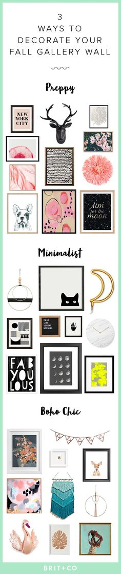 Decorate your gallery wall for the fall with a preppy, minimalistic or boho chic look using these home decor tips.
