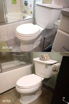 BEFORE: the previous toilet was much too small and guzzled water, making it inefficient. AFTER: The Stinson Toilet from Sterling features a much more appropriate size and design. Additionally, this toilet is EPA-approved and uses 20% less water.